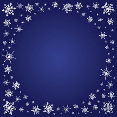 classic contrast: Vector deep blue square background with contrast white frame of elegant snowflakes for christmas and new year, free place for text.