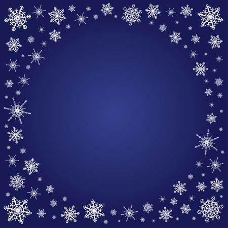 copo de nieve: Vector profundo fondo cuadrado azul con un contraste blanco marco de copos de nieve elegantes para la Navidad y el a�o nuevo, el lugar libre para el texto. Vectores