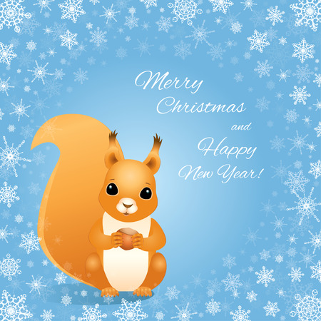 red squirrel: Vector illustration of a red squirrel sitting and holding a hazelnut. Light blue background with a frame made of snowflakes. Design for greeting card with text Merry Christmas and Happy New Year! Illustration