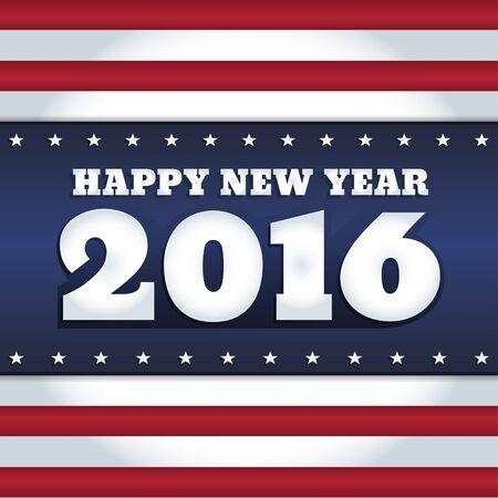 """estrella: Vector de A�o Nuevo 2016 dise�o de la tarjeta de felicitaci�n con el texto """"Feliz A�o Nuevo"""". Los colores de la bandera nacional de los EE.UU.. formato cuadrado."""