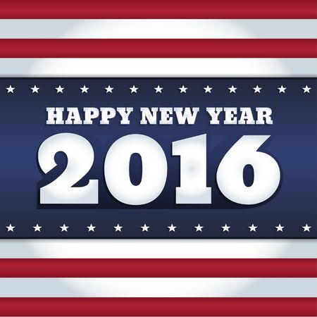 stars: Vector New Year 2016 greeting card design with text Happy New Year. Colors of national flag of USA. Square format.
