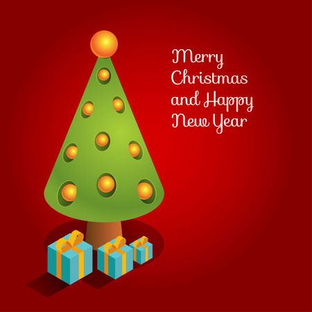 surrealistic: Vector surrealistic three-dimensional isometric illustration of Christmas tree and presents. Design for greeting card with text Merry Christmas and Happy New Year. Square format, deep red background.