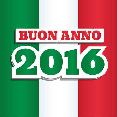 anno: Vector New Year 2016 greeting card design with text in Italian: Buon Anno, which means Happy New Year. Colors of national flag of Italy. Square format. Illustration