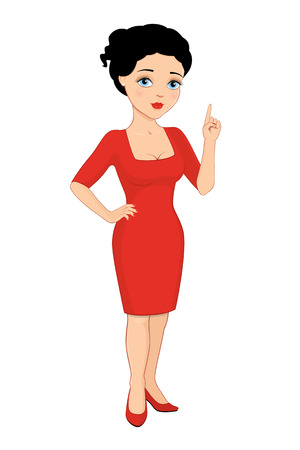 sheath: Vector illustration of a cartoon beautiful brunette with blue eyes in a red sheath dress pointing up. Isolated on white.
