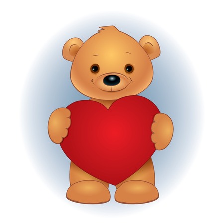 baby romantic: Vector illustration of a cute brown teddy bear standing and holding red heart. Square format.