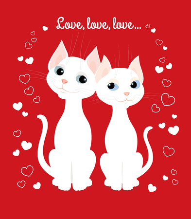 valentine day love beautiful: Vector cartoon illustration of two white cats sitting together and looking at each other. Greeting card for Valentines day, wedding day, wedding anniversary etc. Vertical format.