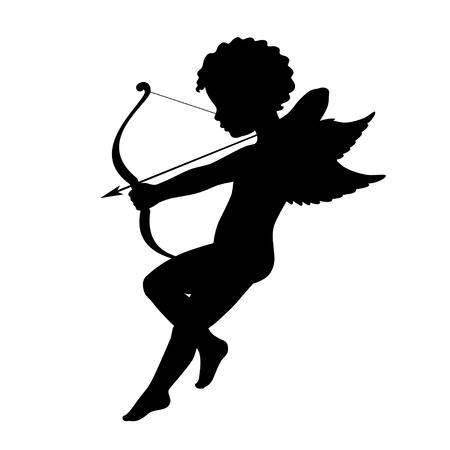 classic art: Black vector silhouette of a cupid shooting arrow. Side view. Isolated on white.