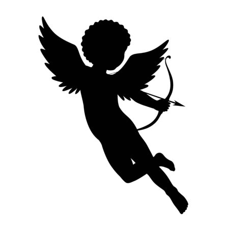 baby isolated: Black vector silhouette of a cupid shooting arrow. Isolated on white. Illustration