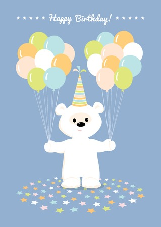 balloons teddy bear: illustration of a cute cartoon white teddy bear in a birthday hat holding many  balloons and smiling. Greeting card Happy Birthday in pastel colors. Blue background.