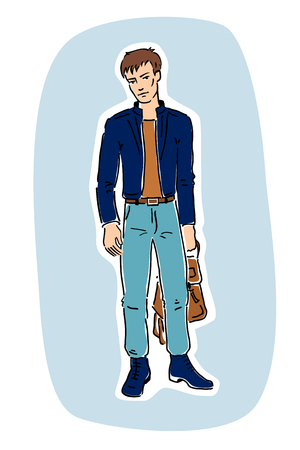 guy standing: illustration of a young fashionable handsome guy standing and holding a bag in his hand. Blue background. Illustration