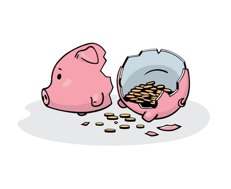 thrift box: illustration of a smashed pink ceramic piggy bank with coins inside. Freehand drawing converted to graphics. Isolated on white.