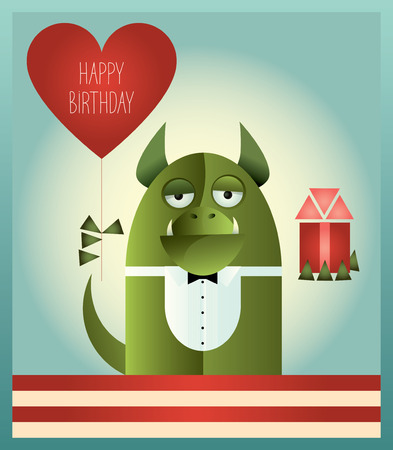 honorable: illustration of a green monster with tuxedo top and bow tie, standing and holding heart shaped balloon and a gift. Retro styled greeting card with text Happy Birthday. Flat design. Illustration