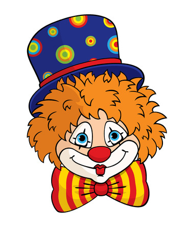 garish: portrait of a cute cartoon clown in a blue top hat and striped bow tie. Colorful illustration for children. Illustration