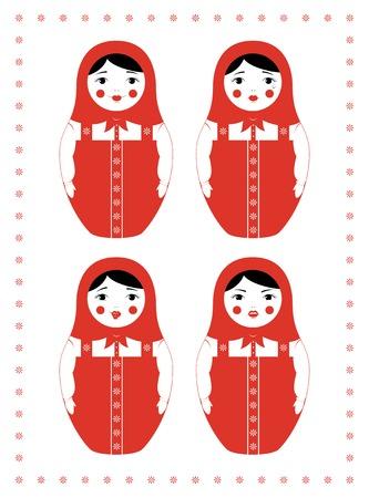 desprecio: ilustración de una muñeca rusa Matryoshka. Cuatro expresiones faciales diferentes - sonriendo, llorando, burlones y enojado. El diseño simple de tres colores.