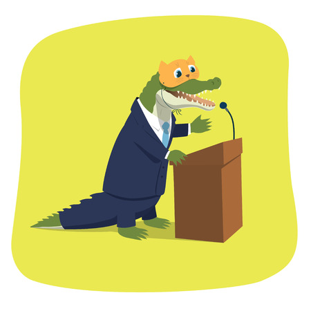 hypocrite: illustration of a crocodile pretending to be a cute kitten while giving a speech at a tribune