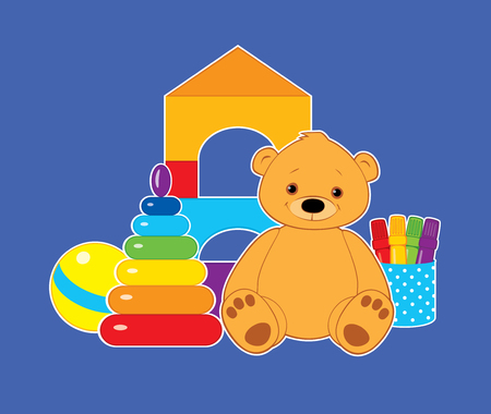 stacking: colorful illustration for children, toys on a blue background. Brown teddy bear, ball, blocks, felt tip pens and rainbow stacking rings tower. White outline. Horizontal format.