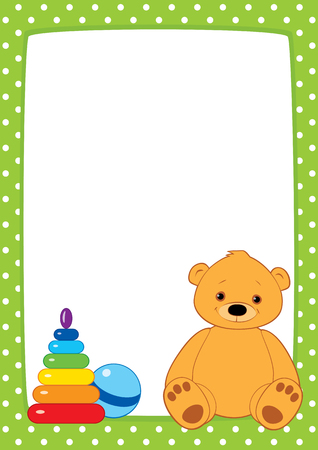 cute cartoon kids: light green frame with white polka dots. Brown teddy bear, stacking rings toy and ball. Place for text on a white background. Vertical format A3A4, simple composition.