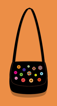 shoulder buttons: illustration of a black crafty shoulder bag decorated with beautiful colorful buttons. Vertical format. Terracotta background.