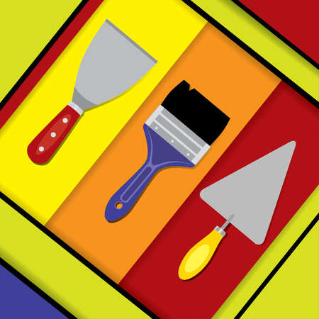 putty knife: illustration of a putty knife, paint brush, and pointing trowel. Hand tools for building, plastering and painting works on a colorful abstract background. Material design. Square format. Illustration