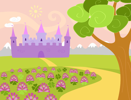 pink hills: Vector illustration for children of a landscape with clover field, tree, and mountains and a fairy castle on the background. Pastel colors, horizontal format. Six separate layers in eps file.