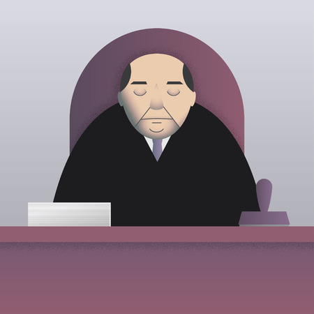 bureaucrat: Vector illustration of a sleepy bureaucrat sitting at the desk with a pile of papers and a big stamp. Simple flat style, square format. Cold palette. Illustration
