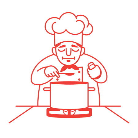 stereotypical: illustration of a male chef standing at the gas stove with a big saucepan on it and tasting the soup. Red outline. Isolated on white. Square format.