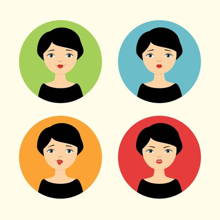 mocking: Set of avatars. Pretty girl with different facial expressions - smiling, crying, mocking and angry.