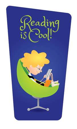 absorbed: cartoon illustration of a cute boy sitting in a cozy green armchair and reading a book. Dark blue background, vertical format, text Reading is Cool Illustration