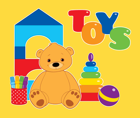 colorful illustration for children, toys on a yellow background. Brown teddy bear, ball, blocks, felt tip pens and rainbow stacking rings tower. White outline. Horizontal format.