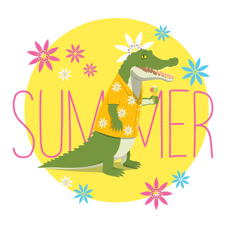 ice cream stand: illustration of a happy crocodile in a yellow Aloha shirt standing, holding an ice cream and smiling. Yellow circle with flowers and the word Summer on the backround.