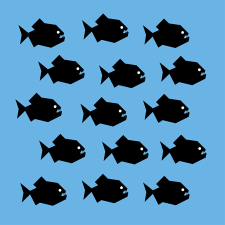 shoal: stylized graphic illustration of a shoal of piranha fish. Black silhouettes of scary creatures with big teeth and white eyes. Square format, blue background.