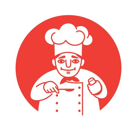 illustration of a male chef with a red neckerchief  holding a spoon and a salt shaker in his hands, looking friendly and smiling. Front view. White on a red background. Square format.
