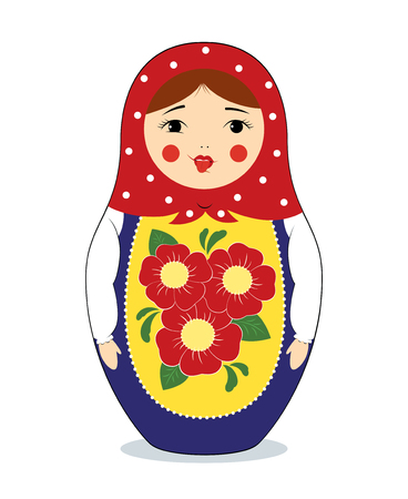sneering: colorful illustration of a russian nesting doll Matryoshka making funny face, showing her tongue. Bright colors, traditional ornaments. Isolated on white.