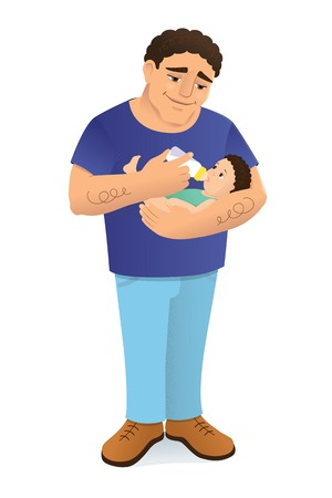 bottle feeding: illustration of a young loving father bottle feeding his child. The man has a mediterranean or hispanic appearance, dark curly hair. The baby looks like his dad. Isolated on white.