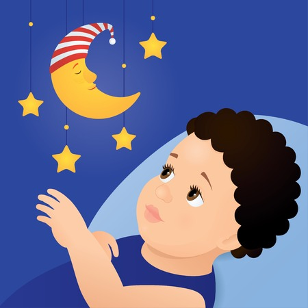 Vector illustration of a baby with brown eyes and dark curly hair laying on a blue pillow and looking at mobile toy with yellow moon and stars. Square format, blue background, close up. Illustration