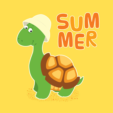 Vector colorful illustration in childish style. Cartoon cute little turtle in a creamy bucket hat standing, looking friendly and smiling. White outline. Square format, sand yellow background with word Summer. Illustration