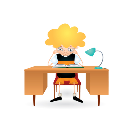 absorbed: Vector colorful illustration of a blond boy with eyeglasses sitting behind a brown desk with a blue lamp on it and reading a book with great interest. Isolated on white. Illustration