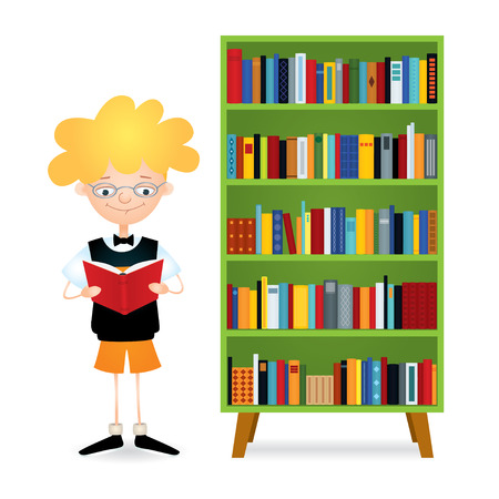 absorbed: Vector colorful illustration of a boy with eyeglasses standing near a green bookcase full of books and reading. The kid wearing black sweater vest, orange shorts and bow tie. Isolated on white.