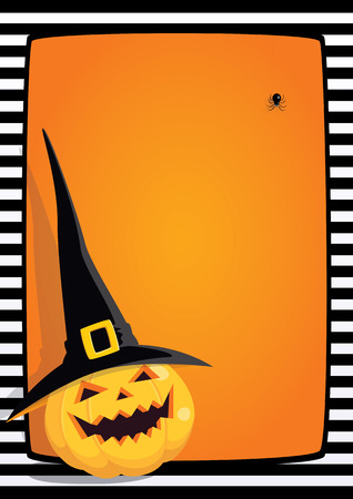 Halloween orange background with black and white striped frame and cartoon illustration of a laughing pumpkin in a black witch hat. Vertical A4 format, free place for text. Illustration