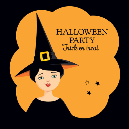 Invitation to Halloween party. Colorful  illustration of a girl in a witch costume making funny grimace, showing her tongue. Square format, orange background. Illustration