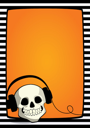 free place: Vector Halloween orange background with black and white striped frame and cartoon illustration of a skull with headphones. Vertical A4 format, free place for text.