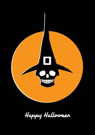 Halloween retro styled greeting card. Vector illustration of a skull in a witch hat. White and orange colors on a black background. Vertical format. Illustration
