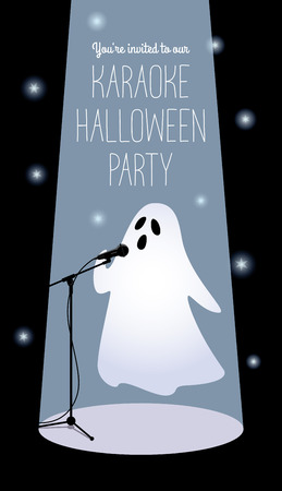 Invitation to karaoke Halloween party. Vector illustration of a cartoon ghost in a spotlight singing into a microphone. Long vertical format, black background, white text.