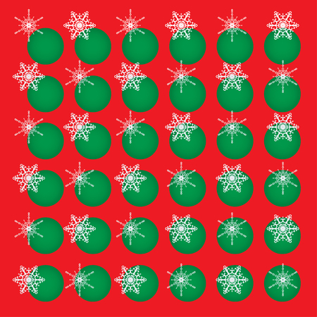 Christmas vector abstract background. White snowflakes and green circles on red. Square format. Illustration