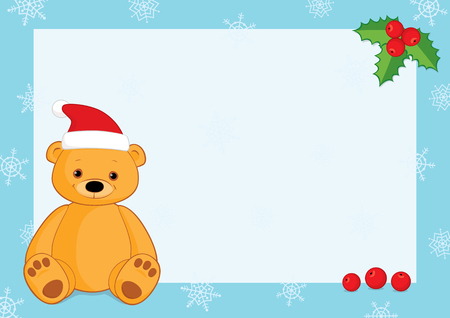 free place: Vector Christmas background with a blue frame, snowflakes, holly berries and a brown teddy bear wearing Santa hat. Place for text on a white background. Horizontal format A3A4. Illustration