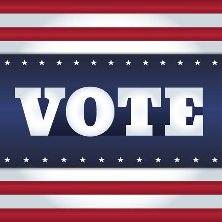 agitation: Elections card design. Word Vote on an abstract background in a style of USA flag. Illustration