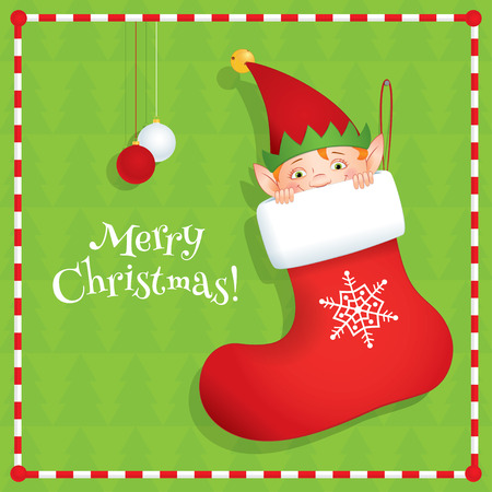 sprite: Vector cartoon illustration of a cute elf hiding in a red Christmas stocking. Holiday greeting card with text Merry Christmas. Green background, square format.