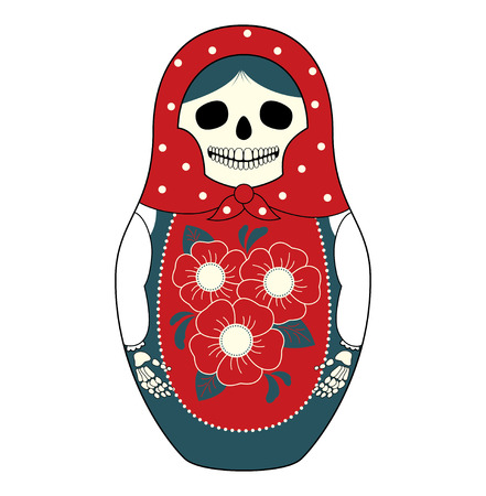Vector illustration of a Russian nesting doll Matryoshka with a skull instead face. Grey and red colors, traditional ornaments. Isolated on white.