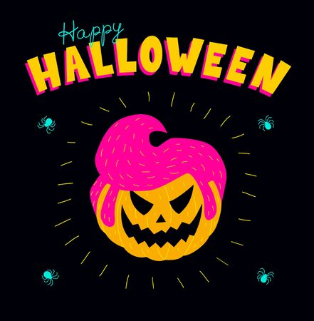 Halloween greeting card. Vector illustration of a pumpkin with a male rockabilly hairstyle. Vibrant colors on a black background, square format.