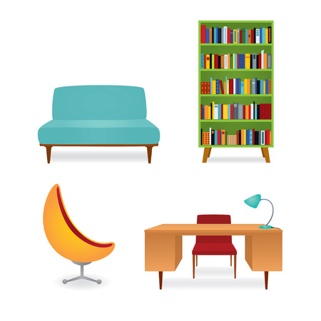 Vector illustration, a collection of 70s style furniture. Bookcase full of books, couch, writing desk and armchair. Isolated on white.